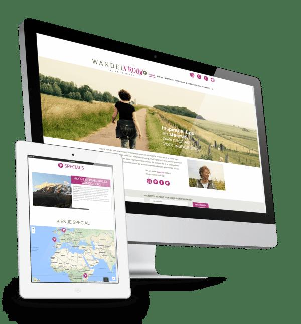 Voorbeeld website voor Wandelvrouw, klik om meer te lezen.