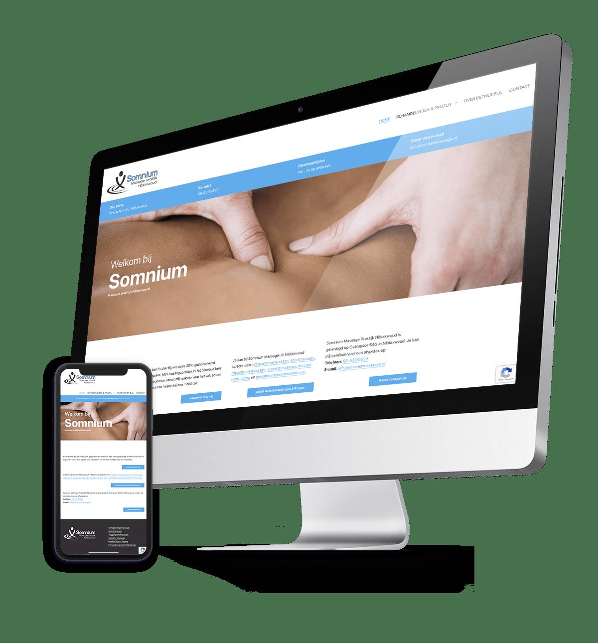 Somnium Massage Praktijk Nibbixwoud, website online in 1 week tijd!