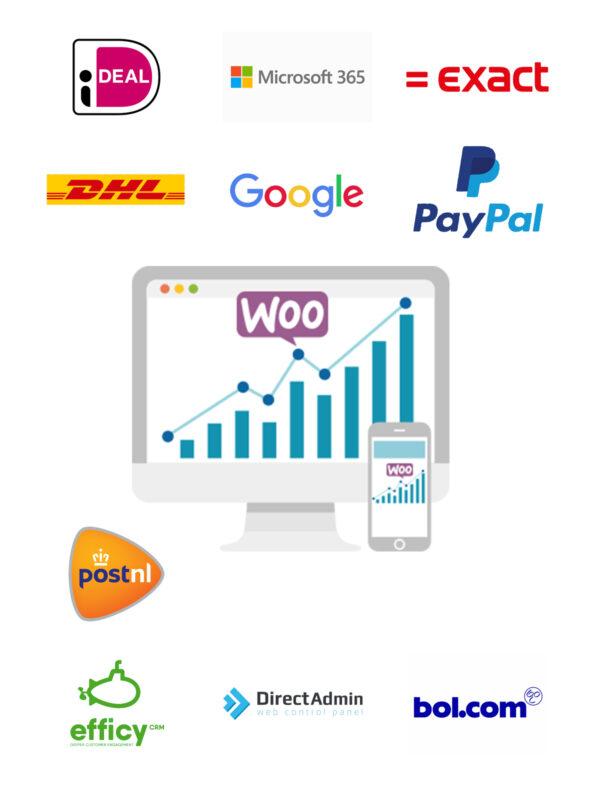 Koppel uw webshop van Woocommerce aan Exact, Unit4, Visma, AFAS, iDeal, PayPal, DHL, UPS, GLS, PostNL, DPD, Mastercard, Visa, American Express en Soft banking om maar wat voorbeelden te noemen.